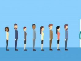 People standing in queue can be managed with Queue management software